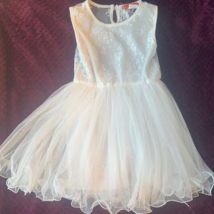 White chiffon, lace dress with pearl detailing